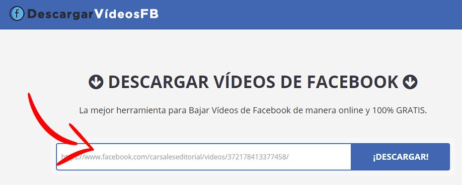 pegar la url en el convertidor de vídeos de facebook
